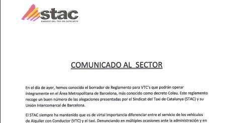 El STAC valora de forma muy positiva el borrador de Reglament para regular las VTC en el Área Metropolitana de Barcelona